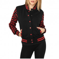 Ladies Zebra 2-tone College Sweatjacket μαύρο/ κόκκινο