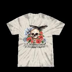 Diamond Skull And Crow Tie Dye Tee γκρι